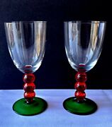 Pair Of Wine Glasses With Red And Green Stem And Base - Kosta Boda