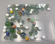 Vintage Antique Marbles Old Lot Of 98 White Marbled Agate Colors 60s 70s 80s 90s
