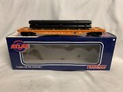"""✅atlas O 2-rail Norfolk And Western 52' 6"""" Flat Car And Pipe Load O Scale Mow Train"""