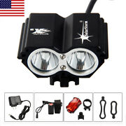 10000lm Led Front Bicycle Head Light Cycling Bike Rear Lamp Battery Rechargeable