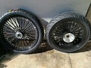 23x3.5 And 18x5.5 Blk Fat Spoke Harley Touring Flh 6 Degree Trees 09 - 20 W/ Abs
