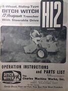 Ditch Witch H12 Riding 2-wheel Trencher Owner Service And Parts Manual Utility 66