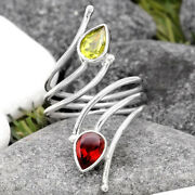 Adjustable - Hessonite Garnet And Peridot 925 Silver Ring S.7 Jewelry 5980