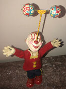 """Antique Rare 11"""" Clown Tin And Paper Mache Toy Wind Up Made In Japan"""
