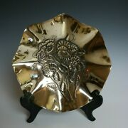 Vtg Solid Brass 8 Scalloped Edge Candy / Nut Dish Embossed Floral Design