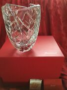 Nib New Flawless Exceptional Baccarat Art Glass Menthe Optic Crystal Flower Vase
