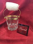 Flawless Exquisite Baccarat France Glass Bretagne Crystal Ice Bucket Gold Handle