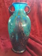 Flawless Exquisite Art Studio Aqua And Gold Two Handles Glass Crystal Vase Urn