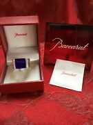 Nib New Flawless Stunning Baccarat France Crystal Chevaliere Blue Ring Size 7
