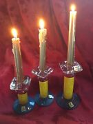 New Flawless Exquisite Eisch Art Glass Crystal Pillars Trio Candle Stick Holders