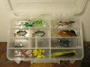 Set Of 15 Fishing Lures Swim Baits Minnow Frog Fish Spinner Soft Silicone
