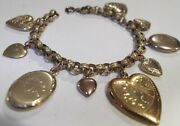 Vintage Embossed Brass Charm Bracelet And Gf Gold Filled Heart And Oval Lockets