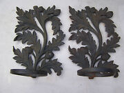 2 Large Iron Wall Sconce Oil Lamp Holders Oak Leaf And Acorn