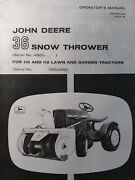 John Deere 110 112 Round Fender Garden Tractor Snow Blower Owners Manual 63and039-67and039