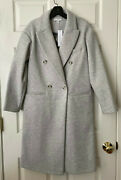 Topshop Women Brooke Double Breasted Long Coat Size In 2 4 6 - New