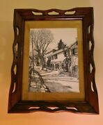Raymond E Halacy Pen Ink Drawing New Hope Pa Vintage Light Up Picture Wood Frame
