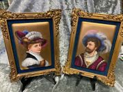 Antique Pair Of Hand Painted Portraits On Pickard Porcelain Plaques