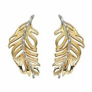 Elements 9ct Yellow And White Gold Feather Earrings