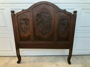 Rare Vintage Detail Hand-carved Chinese Twin Or Single Bed Headboard, 39 3/4 W