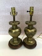 Vintage Pair Of Chinese Heavy Solid Brass Table Lamps W/wooden Base, 14 1/3 T