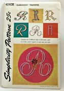 1952 Simplicity Transfer Pattern 4040r Letter R Embroidery Hot Iron Craft 3683f