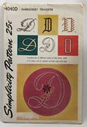 1952 Simplicity Transfer Pattern 4040d Letter D Embroidery Hot Iron Craft 3684