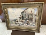 Listed Mariotti 1848-1916 Farm Animals And House Italy 1883 Landscape Signed