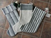 Lot Of 3 Hearth And Hand By Magnolia Christmas Stockings With Poms New