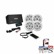 Boss Marine Audio Amplifier And Speakers Bundle With Kit2 Installation Wiring Kit