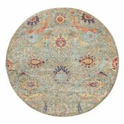 8and039x8and039 Round Hand Knotted Taupe Silk With Wool Sickle Leaf Design Rug R58943