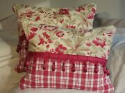 Pair - Antique French 19th Century Fabric Pillows With Silk Tassel
