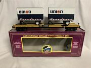 Mth Premier Union 76 Gas Flat Car And 20' Pup Trailers 20-98165 O Scale Intermodal