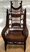Antique Natural Gliding Wicker Rocker From Late 1800andrsquos