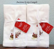 Set/8 Williams-sonoma Twas The Night Before Christmas Embroidered Dinner Napkins