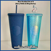 Bn Starbucks 2020 Navy Matte And Blue Bling Bunny Topper Studded Cold Cup Tumblers