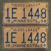 Collector 1958 1959 Minnesota License Plate Matched Pair Yom Plates 1e 1448