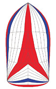 Spinnaker Symmetrical Luffs 44and039foot 23-11 0.75 Oz. Nylon Radial Red/wh/blu