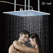 20 Inch Shower Head Chrome Brass Led Rainfall Ceiling Mounted Square Top Sprayer