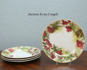 S/4 New Williams-sonoma Botanical Wreath Dinner Plates Christmas Holiday Berries
