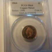 Usa Indian Cent Proof 1864 Copper Nickel Pcgs Pr64-superb Color And Mirrors