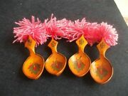 Vintage Hand Painted Colorful Wooden Spoons Set For Folk Dance Spoons Lot Of 4