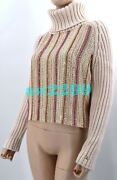 Nwt 00a Iconic Vintage Beaded 100 Cashmere Crop Sweater Fr 42 40 Cc Logo