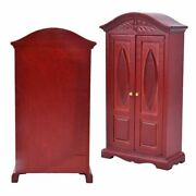 Double Doors Miniature Wardrove Furniture Cabinets Wooden Doll House Accessories