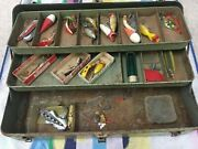 Vintage Old Fishing My Buddy Tackle Box By Falls City Products With Lures