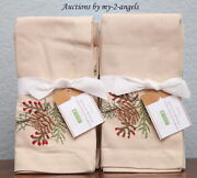S/8 New Pottery Barn Embroidered Pinecone Dinner Napkins Natural Christmas Berry