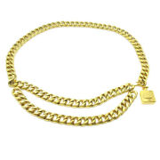Cc Logos Perfume Charm Gold Chain Belt Accessories Authentic 36475