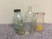 Lot Of Six Antique Bottles-small Advertising-great For Decorating