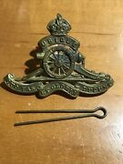 Wwii British Artillery Officers Cap Badge Hat Royal Army Pin Uniform Military Ra