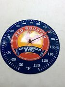 Vtg Red Rooster Californiaand039s Best Porcelain Metal Thermometer Sign Farm Seed