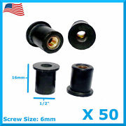 50 M6 Rubber Well Nut Universal Windscreen And Fairing 6mm 1/2 Wellnuts Wellnut